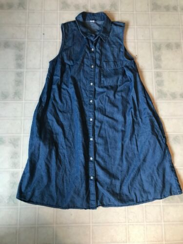 Old Navy Dark Blue Chambray Dress Size Medium Sleeveless Button Front