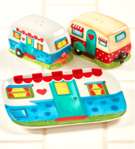 Camper Style Salt Pepper Shakers Spoon Rest Set Colorful Travel Trailer ... - $18.16