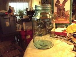 017#shelf    Vintage blue-green  Quart Ball Perfect Mason Canning/Fruit Jar - $17.81