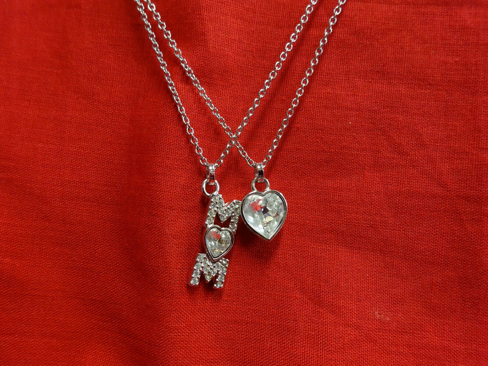 Authentic SWAROVSKI 2 Strand Silver Crystal Necklace Heart Mom Swan Signed w BOX image 3