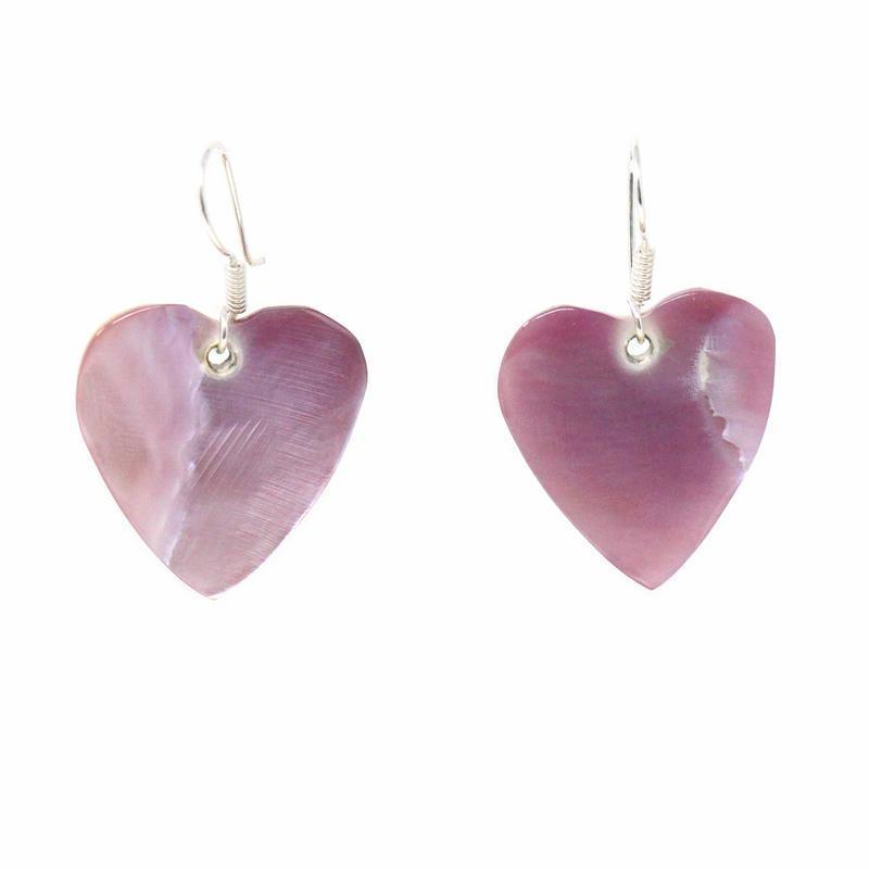 Earrings, Pink Mother of Pearl Hearts - $17.50