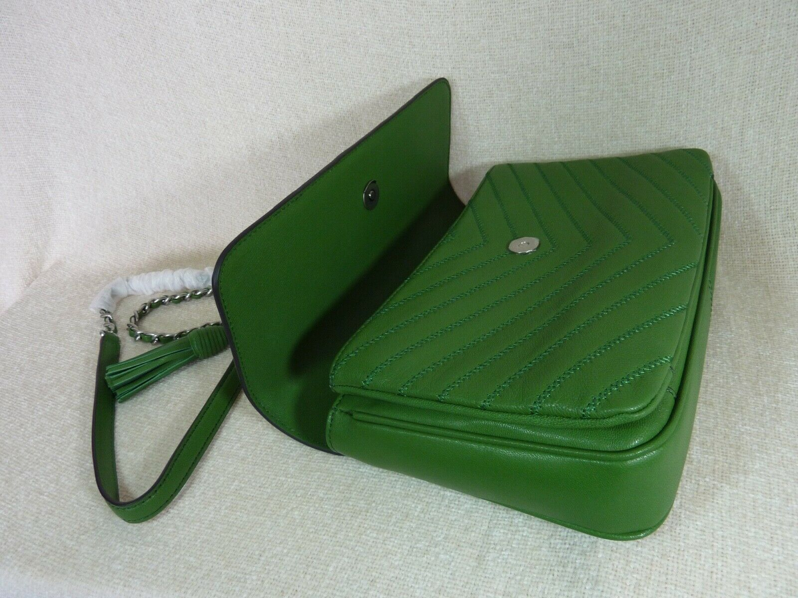 NWT Tory Burch Watercress Green Leather Fleming Convertible Shoulder Bag image 5