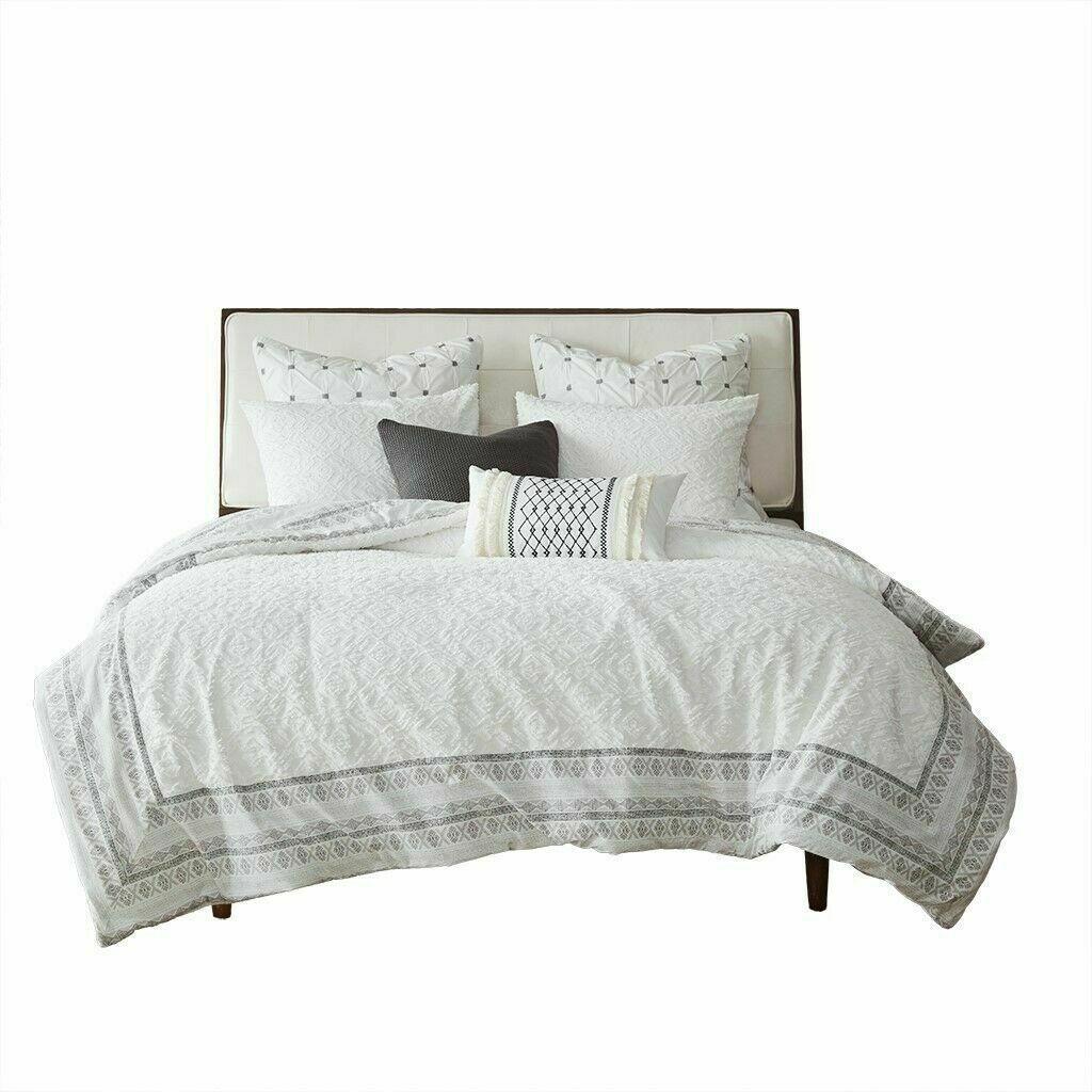 INK+IVY 100% Cotton Duvet Set Jacquard Geometric Design All Season STORE --NEW!