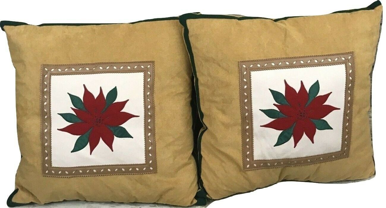 Primary image for A Set Of 2 Christmas Brown Mistletoe Flower Decorative Pillows