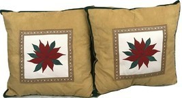 A Set Of 2 Christmas Brown Mistletoe Flower Decorative Pillows - $13.98