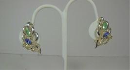 Vintage Multi colored rhinestone Clip On earrings - $10.88