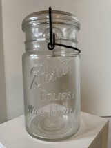 Antique BALL Eclipse Wide Mouth Round Jar -Clear QUART #5 -Glass Lid -Smooth Lip - $15.00