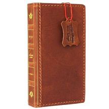 Genuine Natural leather Case for iPhone 7 wallet cover classic holder bible book - $39.99
