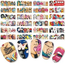 Nail Sticker Water Transfer Nails Art Decals Girl Lips Manicure Nail Designs - $3.60