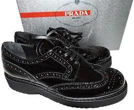 Prada Black Patent Leather Lace Up Wing Tip Oxford Platform Flat Shoe  3... - $378.00