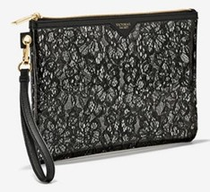 Victorias Secret Black Lace Design Zippered Cosmetic Makeup Bag Clutch Pouch NWT - $9.89