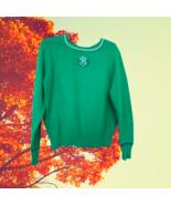 vintage r monogram green sweater size medium large preppy  - $24.99