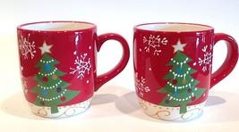 Pier 1 'Decorations' Christmas Tree (16oz.) Jumbo Coffee Cups ~ Set of 2 - $39.99