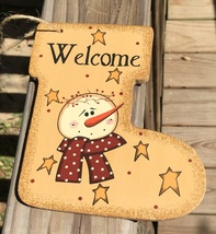 Primitive Wood 2388 Welcome Snowman Christmas Ornament  - $3.95