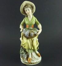Vintage 8 and a quater inch Porcelain Figurine Woman w Hat  Basket of Gr... - $33.24