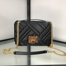 Michael Kors Vivianne Quilted Leather Medium Shoulder Flap Bag Black - $275.00