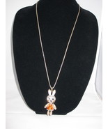 NEW Betsey Johnson Rhinestone Bunny w/ Orange dress on lo... - $24.50