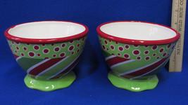 Set 2 Ice Cream Bowls Pedestal Base Ceramic Green Red White Dot Christma... - $14.84