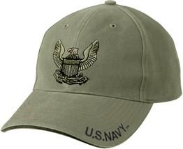 Olive Drab Vintage US Navy Eagle Crest Low Profile Adjustable Baseball Cap - $14.99