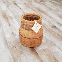 Handcrafted Straw Basket with Red and Green Stripe, Baskets by Dot - $22.95