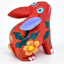 Handmade Oaxacan Alebrijes Painted Wood Folk Art Sitting Bunny Rabbit Figurine image 4