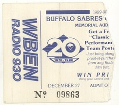 RARE Buffalo Sabres 12/27/89 Memorial Auditorium Fan Event Ticket Stub! - $2.96