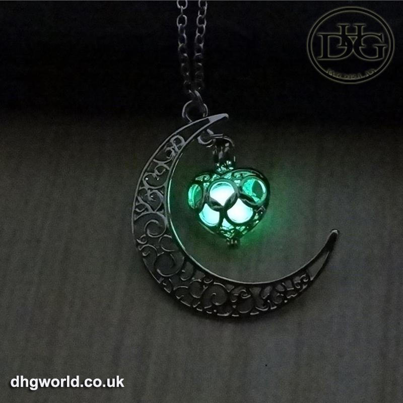 YAKAMOZ Enchanting Moon & Heart Theme Ladies Necklace - Glow in the Dark image 5