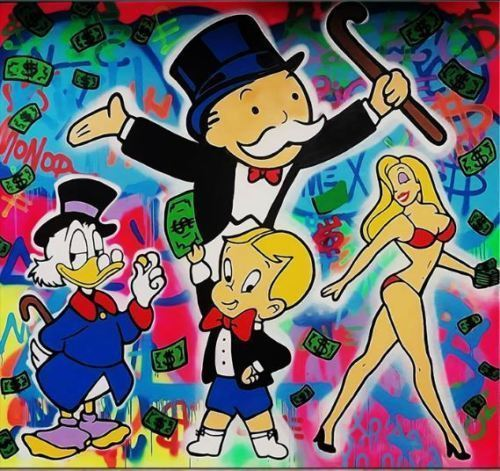 """Alec Monopoly Bansky Oil Painting on Canvas Urban art Wall Decor The Gang 28x36"""""""
