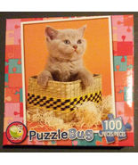 "Cat Jigsaw Puzzle ""Cute Kitten"" Animal Grey Basket Puzzlebug 100 pc NEW - $4.49"