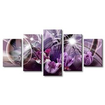 Abstract Canvas Painting with Purple Flower Wall Art Decor Artwork - $49.30