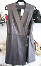 T ALEXANDER WANG Black Leather Wrap Dress Size 10 $1350 - $442.65