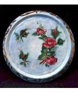 Antique Porcelain Teapot Trivet Blue Hand Painted Pink Roses Gold Trim - $34.64
