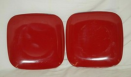 """Pair of Red Square Lunch Plates 8"""" Kitchen Tableware - $14.84"""
