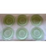 "Vintage Green Uranium Vaseline Glass Luncheon Salad Plates 8.75"" Snowfla... - $74.99"