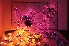Halloween Light Up CAT, SPIDER Plus Ghost & Jack O'Lantern /Purple Strin... - $20.57
