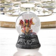 ORANGE DRAGON MINI Water Globe Small Glitterdome Medieval Fantasy - $17.73