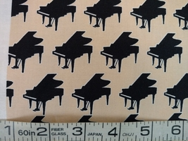 1/2 yard Music/piano grand piano keyboard quilt fabric -free shipping image 1