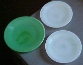 Akro Agate-child/demi dishes-grn jadite/marbleized plate +2 white plates-vintage - $13.50
