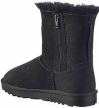 Kirkland Signature Women's Black Sheepskin Shearling Winter Boots w Zipper NIB image 3