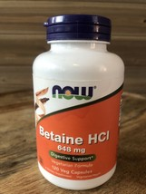 NOW Foods Betaine HCI, 648 Mg - 120 Caps Exp 10/23 Digestive Support - $13.98