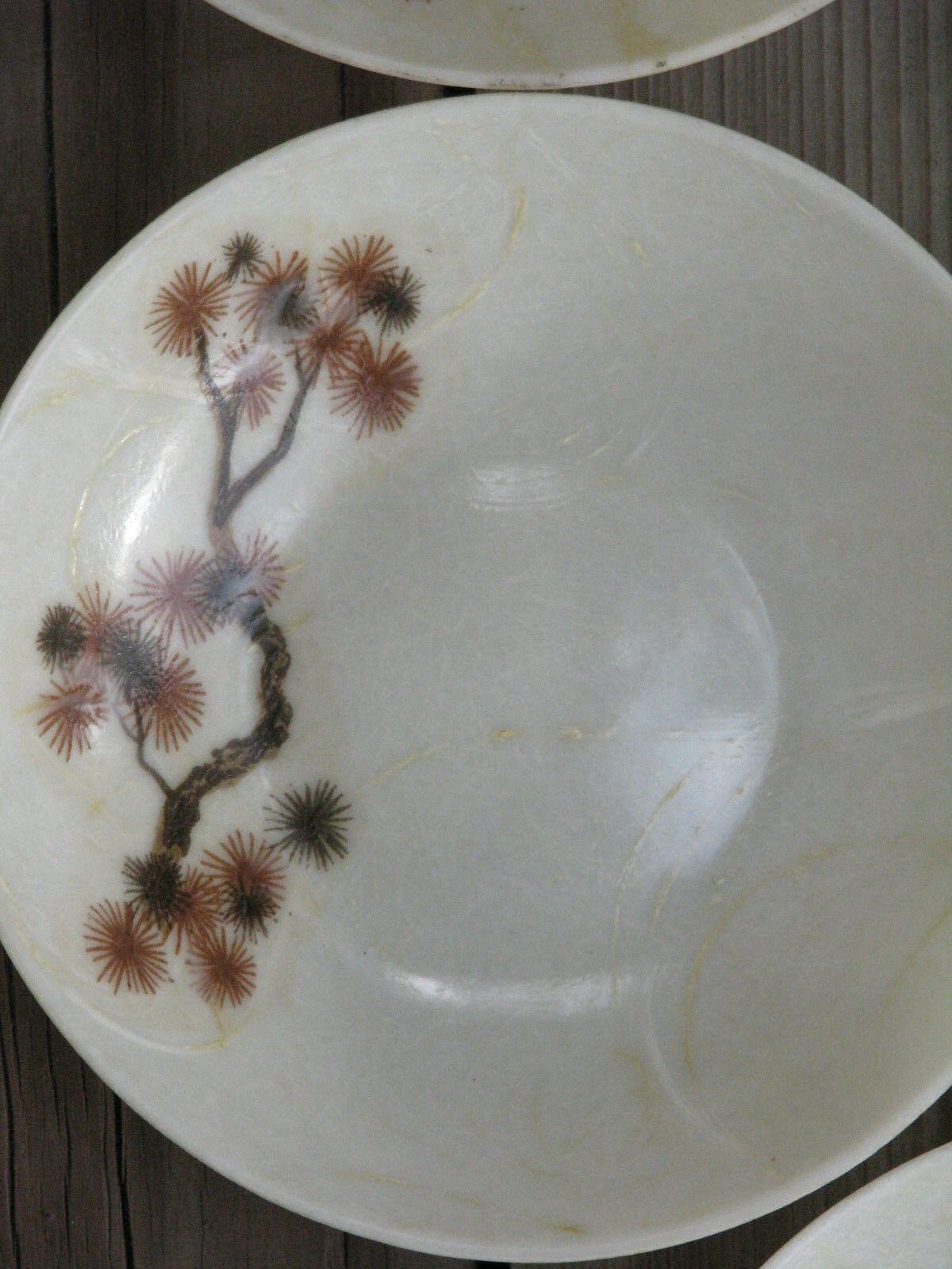 """Set of 4 ~ Vintage 1950's FIBERGLASS Floral Pine Salad Bowls 6¾"""" ~ SHIPS FREE"""
