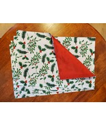 Christmas Placemats, Set of 4 Fabric Place Mats, Holly Mistletoe Red Gre... - £10.86 GBP