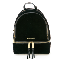 MICHAEL KORS Rhea Zip Small Leather Backpack Black for Woman with Free Gift - $312.00