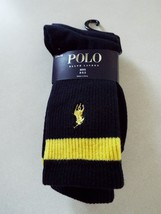Ralph Lauren 3 pair Boys Black Crew Socks 8-9.5 Shoe 13-3 New - $9.89