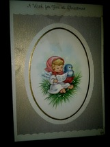 Pretty Little Angel Baby Bluebird Vintage Christmas Card BOGO Sale  - £4.98 GBP