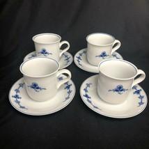 Dansk Designs Denmark 4 Cups / Mugs w Saucers Embossed Rare Pattern VTG - $48.37