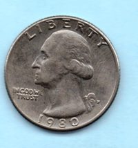 1980 P Washington Quarter - Circulated - Light Wear - $0.25