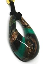 """BIG DROP PENDANT MURANO GLASS, BLACK GREEN AND GLITTER 4.5cm 1.8"""" MADE IN ITALY image 2"""