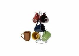 Coffee Cup Set by GIBSON Coffee Mug Set Stoneware Coffee Cups with Metal... - $32.25