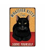 Vintage Lovely Cats Metal Sign Love My Cat Tabby Black Cat Tin Poster De... - $21.93